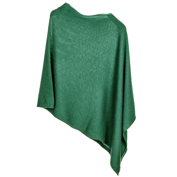 Bottle Green Knitted Cashmere Poncho
