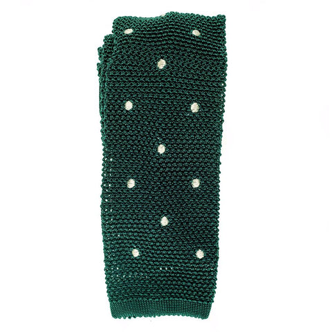 Green Polka Dot Knitted Silk Tie