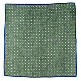 Green and White Reversible Wool Pocket Square