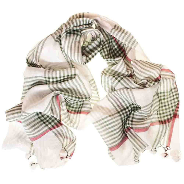 Green and White Check Cotton Scarf