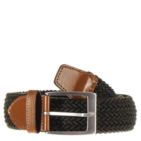 Military Green and Tan Leather Trimmed Woven Belt