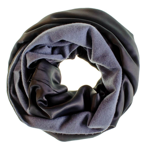 Double Size Slate Grey Cashmere and Black Satin Snood