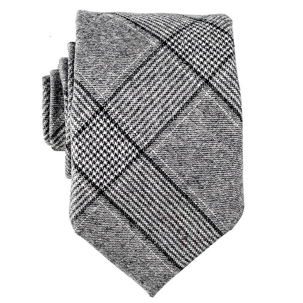 Grey and White Houndstooth  Wool Tie