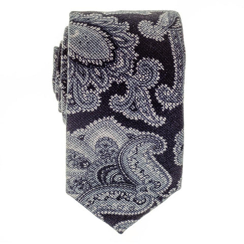 Liscia Navy and Grey Floral Italian Cotton Tie