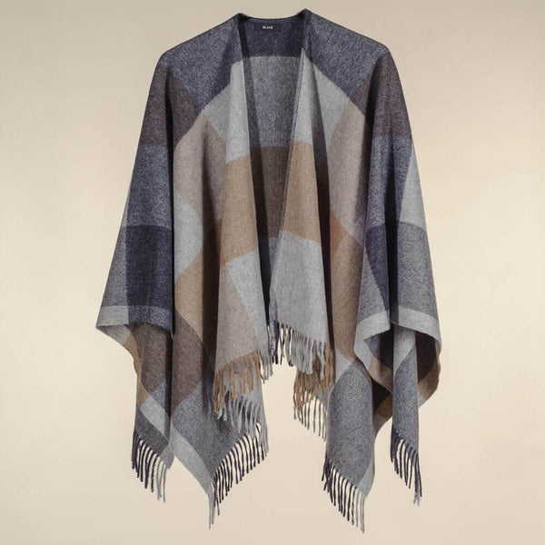 Grey and Natural Check Merino Wool Cape
