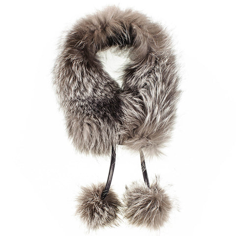 Silver Grey Fur Collar with Pom Poms