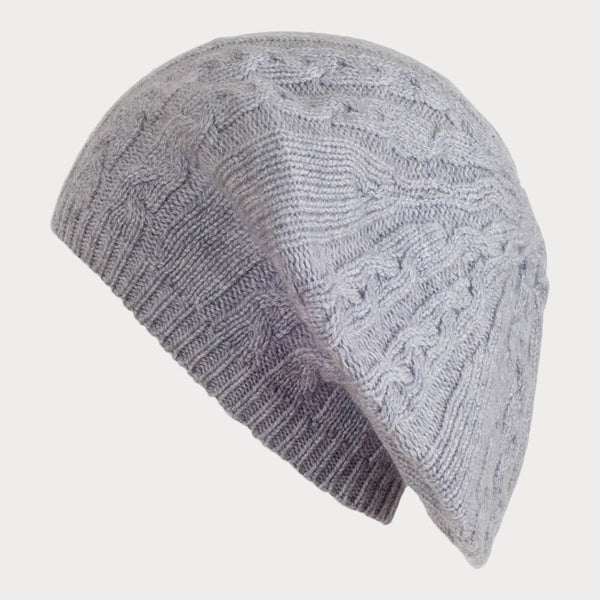 Grey Cable Knit Cashmere Beret