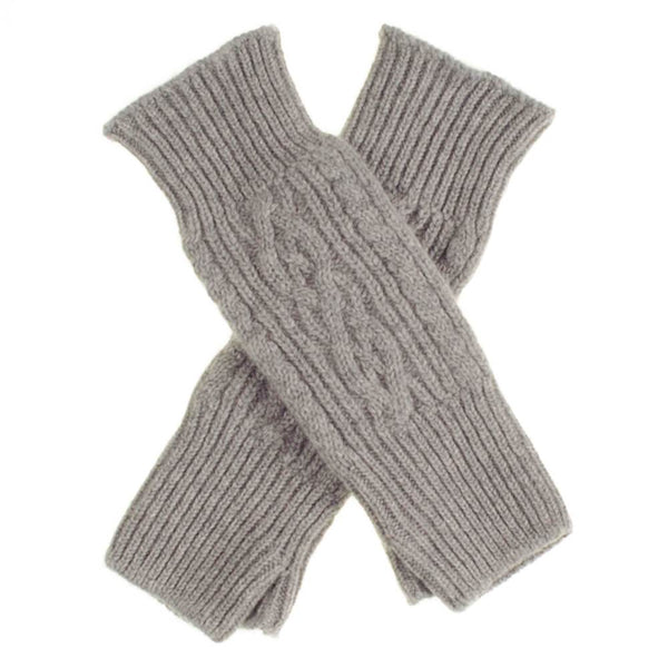 Long Grey Cable Cashmere Wrist Warmers