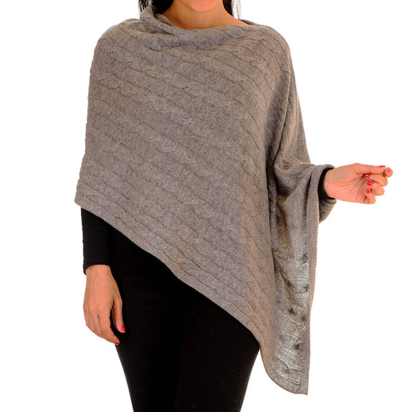 Mid Grey Cable Knit Cashmere Poncho