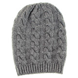 Grey Cable Cashmere Slouch Beanie 2