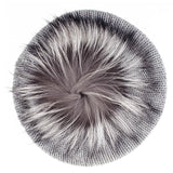 Silver Grey Cashmere and Fur Pom Pom Beret