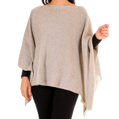 Dove Grey Batwing Cashmere Poncho