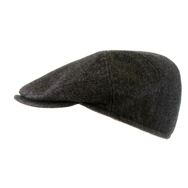 Grey Cashmere and Wool Flat Cap