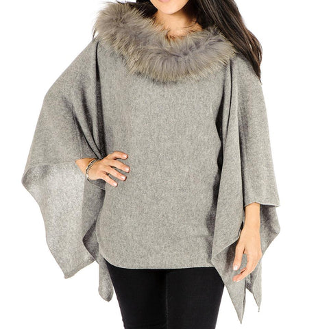 Grey Cashmere Bat Wing Poncho with Fur Collar
