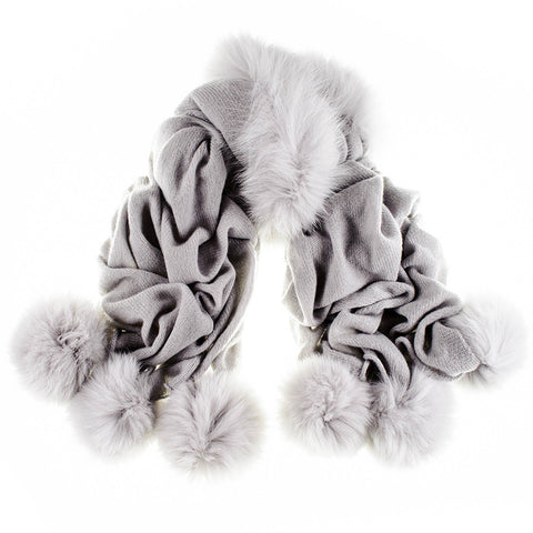 Pearl Grey Cashmere and Fox Fur Pom Pom Shawl