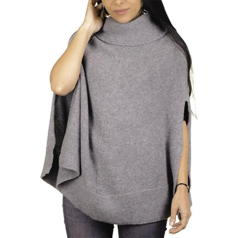 Grey Roll Neck Knit Cashmere Poncho