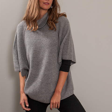 Grey Roll Neck Cashmere Sleeved Poncho