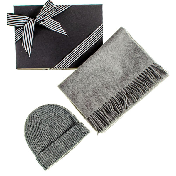 Grey Cashmere Scarf and Beanie Gift Set