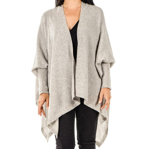 Dove Grey Sleeved Cashmere Cape