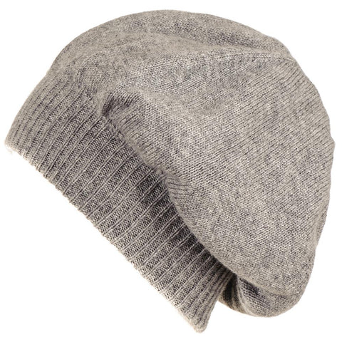 Grey Double Layer Cashmere Slouch Beret