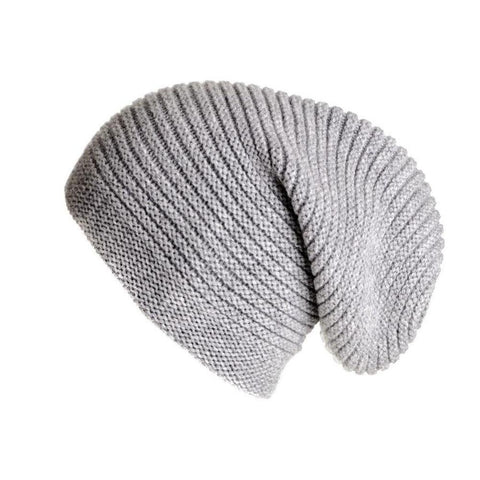 Light Grey Cashmere Slouch Beanie Hat