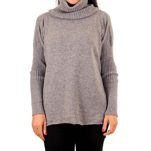 Grey Cashmere Sleeved Poncho Sweater with Snood
