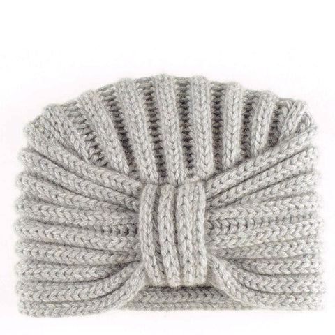 Cloud Grey Chunky Rib Knit Cashmere Turban