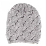 Grey Chunky Cable Knit Cashmere Beanie