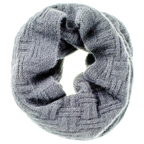 Grey Geometric Knit Cashmere Snood
