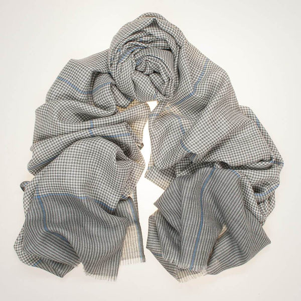 Dunster Check Silk and Wool Scarf
