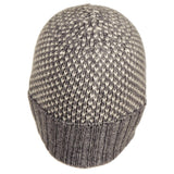Grey and Ivory Chevron Cashmere Beanie Hat