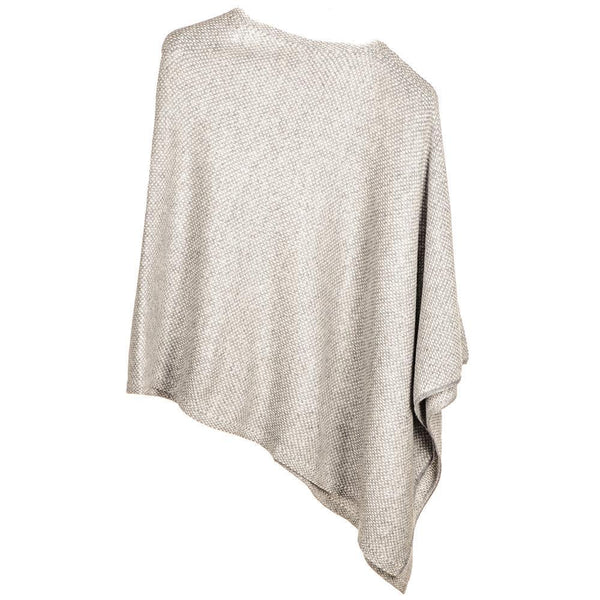 Light Grey and Ivory Knitted Cashmere Poncho