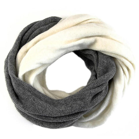 Ivory and Warm Grey Cashmere Snood