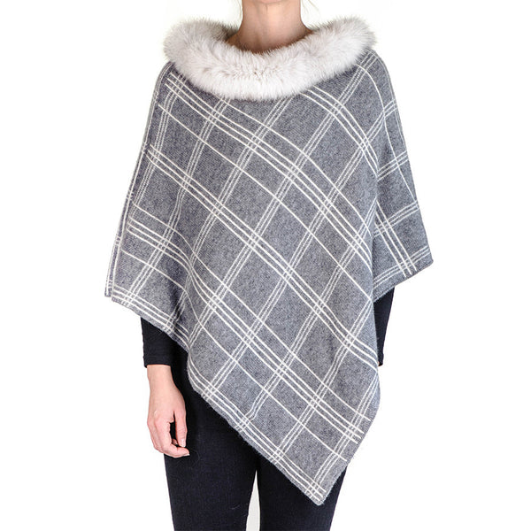 Grey and Ivory Cashmere Poncho with Fox Fur Collar