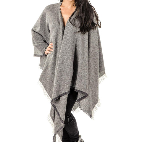 Grey and Ivory Antique Loom Cashmere Cape