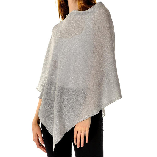 Sparkly Grey and Silver Linen and Cotton Poncho