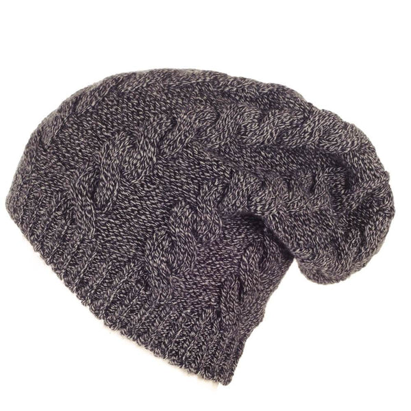 Black and Grey Cable Cashmere Slouch Beanie