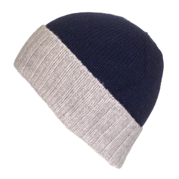 Midnight Navy and Grey Cashmere Beanie
