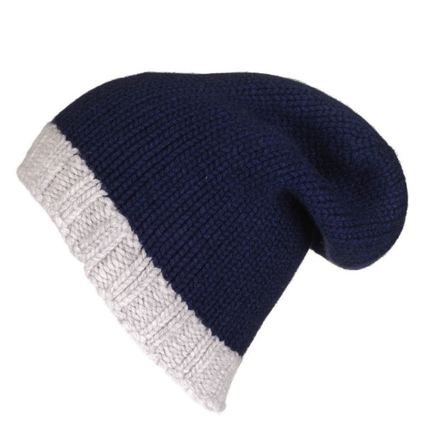 Navy and Grey Cashmere Slouch Beanie