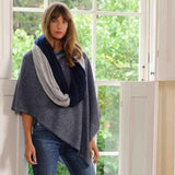 Navy and Silver Grey Double Sided Long Cashmere Snood