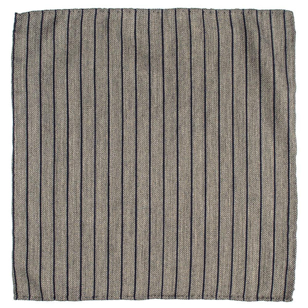 City Pinstripe Silk and Wool Pocket Square