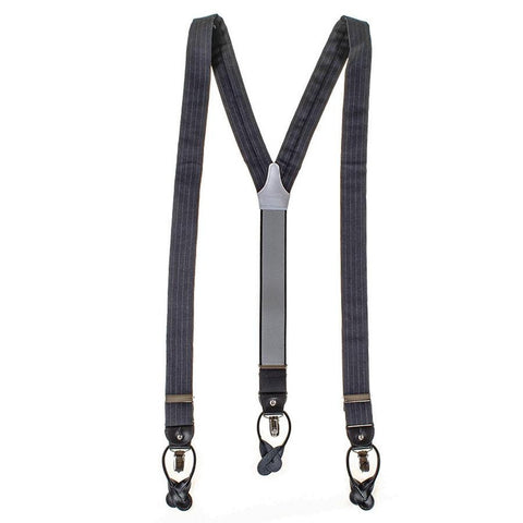 Anthracite Pinstripe Wool and Leather Braces