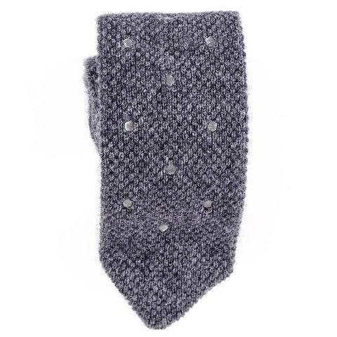 Grey Polka Dot Knitted Cashmere Tie