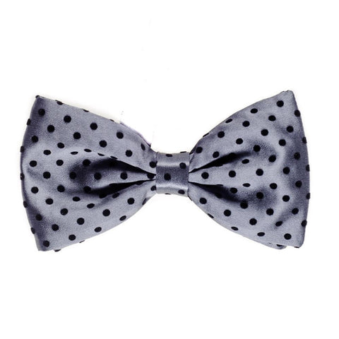 Slate Silk and Black Velvet Polka Dot Bow Tie