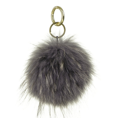 Dark Grey Fur Handbag Pom Pom