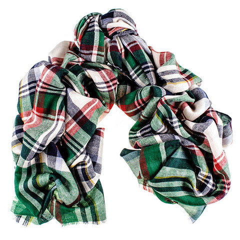 Green and Red Oversized Check Cashmere Scarf