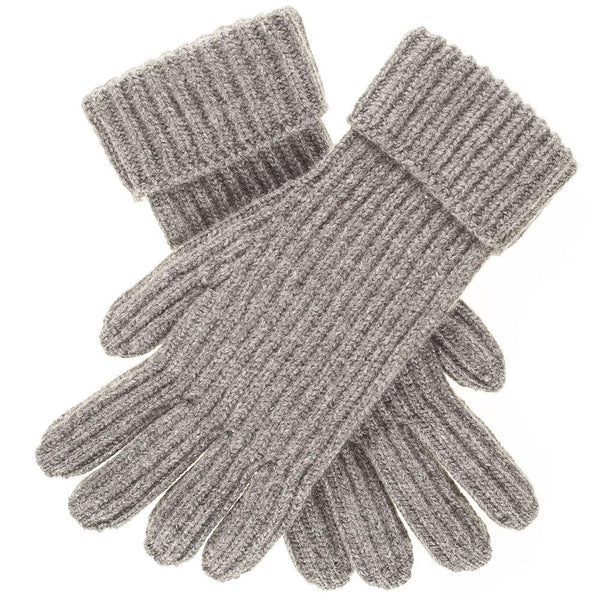 Men's Grey Rib Knit Cashmere Gloves