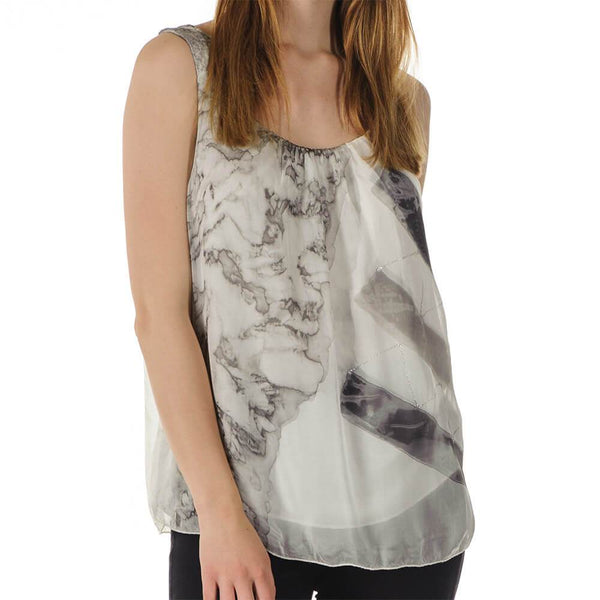 Elisa - Grey Silk Sleeveless Top