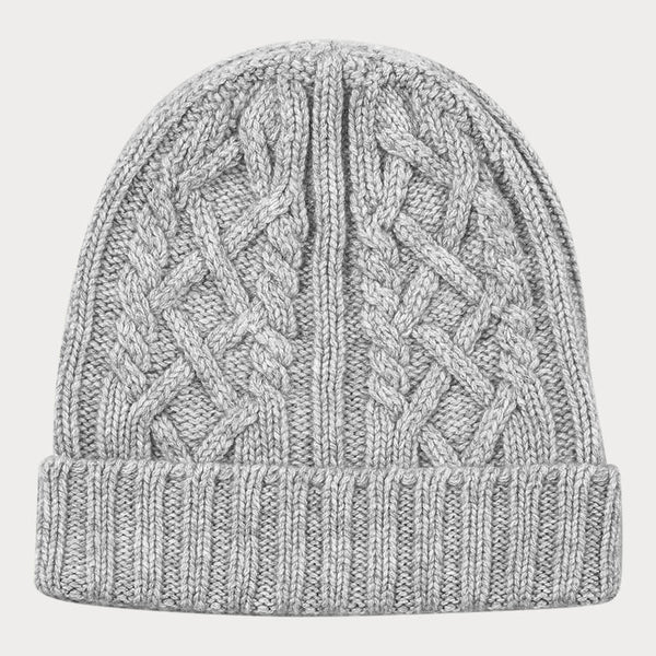 Grey Waffle and Cable Knit Cashmere Beanie