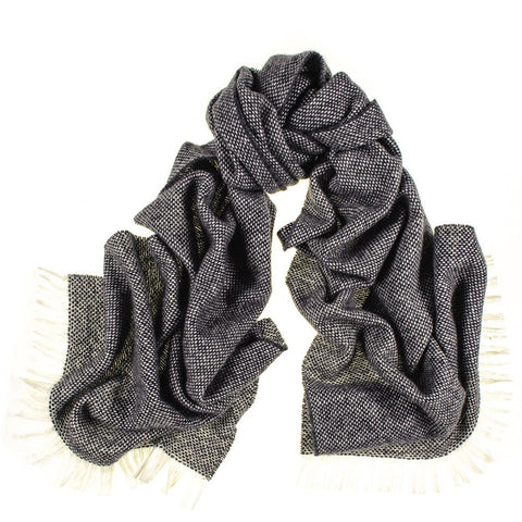 Grey and Ivory Interwoven Cashmere Scarf